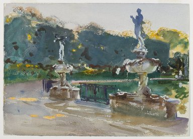 John Singer Sargent (American, 1856-1925). Boboli Gardens, ca. 1906. Opaque and translucent watercolor with graphite underdrawing, 10 x 14in. (25.4 x 35.6cm). Brooklyn Museum, Purchased by Special Subscription, 09.818