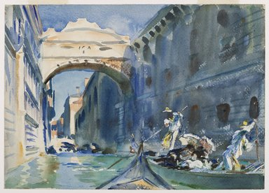 John Singer Sargent (American, born Italy, 1856-1925). The Bridge of Sighs, ca. 1903-1904. Translucent and opaque watercolor with graphite and red-pigmented underdrawing, 10 x 14in. (25.4 x 35.6cm). Brooklyn Museum, Purchased by Special Subscription, 09.819