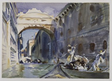 John Singer Sargent (American, 1856-1925). The Bridge of Sighs, ca. 1903-1904. Translucent and opaque watercolor with graphite and red-pigmented underdrawing, 10 x 14in. (25.4 x 35.6cm). Brooklyn Museum, Purchased by Special Subscription, 09.819