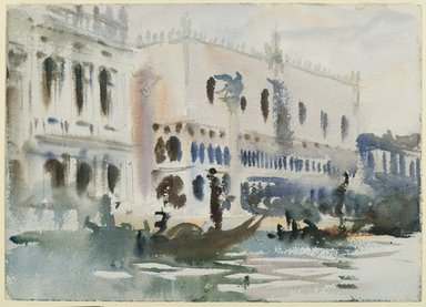 John Singer Sargent (American, 1856-1925). From the Gondola, ca. 1903-1904. Translucent watercolor and touches of opaque watercolor and graphite, with graphite underdrawing, 10 x 14 in. (25.4 x 35.5 cm). Brooklyn Museum, Purchased by Special Subscription, 09.820