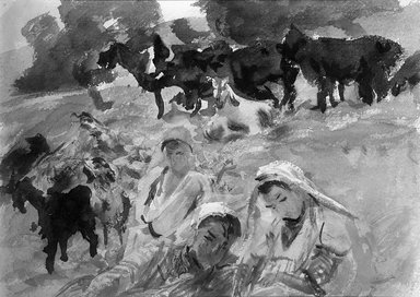 John Singer Sargent (American, 1856-1925). Goatherds, 1905-1906. Opaque and translucent watercolor with graphite underdrawing, 10 x 14 in. (25.4 x 35.6 cm). Brooklyn Museum, Purchased by Special Subscription, 09.821