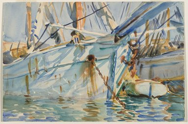 John Singer Sargent (American, born Italy, 1856-1925). In a Levantine Port, ca. 1905-1906. Translucent watercolor and touches of opaque watercolor with graphite underdrawing, 12 1/16 x 18 1/8 in. (30.6 x 46 cm). Brooklyn Museum, Purchased by Special Subscription, 09.825