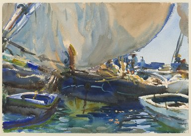 John Singer Sargent (American, born Italy, 1856-1925). Melon Boats, ca. 1908. Opaque and translucent watercolor with graphite underdrawing, 14 x 19 15/16 in. (35.6 x 50.7 cm). Brooklyn Museum, Purchased by Special Subscription, 09.829