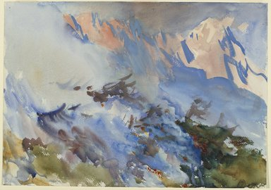 John Singer Sargent (American, 1856-1925). Mountain Fire, ca. 1906-1907. Opaque and translucent watercolor, 14 1/16 x 20in. (35.7 x 50.8cm). Brooklyn Museum, Purchased by Special Subscription, 09.831