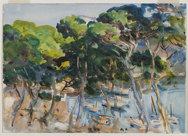 John Singer Sargent (American, 1856-1925). Port of Soller, 1908. Opaque and translucent watercolor with graphite underdrawing, 14 x 19 3/8 in. (35.6 x 49.2 cm). Brooklyn Museum, Purchased by Special Subscription, 09.833