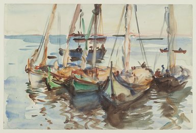 John Singer Sargent (American, 1856-1925). Portuguese Boats, ca. 1903. Translucent watercolor and touches of opaque watercolor with graphite underdrawing, 12 x 18 1/16 in. (30.5 x 45.9 cm). Brooklyn Museum, Purchased by Special Subscription, 09.834
