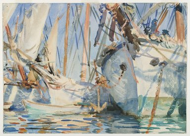 John Singer Sargent (American, 1856-1925). White Ships, ca. 1908. Translucent and touches of opaque watercolor and wax resist with graphite underdrawing, 13 7/8 x 19 3/8 in. (35.2 x 49.2 cm). Brooklyn Museum, Purchased by Special Subscription, 09.846