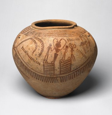 Jar with Boat Designs, ca. 3450-3350 B.C.E. Clay, painted, 6 7/8 x greatest diam. 8 1/4 in. (17.5 x 20.9 cm). Brooklyn Museum, Charles Edwin Wilbour Fund, 09.889.400. Creative Commons-BY