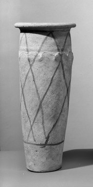 Wavy Handled Cylindrical Vase with Painted Decoration. Terracotta, pianted, 10 1/16 x Diam. 4 5/16 in. (25.6 x 10.9 cm). Brooklyn Museum, Charles Edwin Wilbour Fund, 09.889.660. Creative Commons-BY