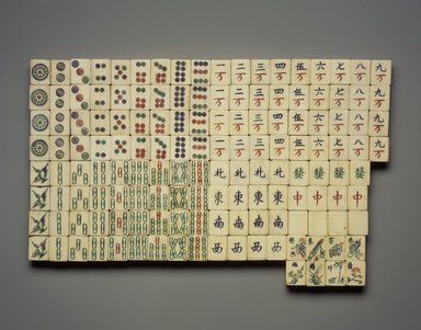 Game Pieces for Mah Jong or Chinese Dominos, 1909 or before. Bamboo and ivory, Each piece: 1 x 13/16 x 1/2 in. (2.6 x 2 x 1.3 cm). Brooklyn Museum, Museum Expedition 1909, Purchased with funds given by Thomas T. Barr, E. LeGrand Beers, Carll H. de Silver, Herman B. Stutzer, Colonel Robert B. Woodward and the Museum Collection Fund, 09.943