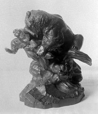 Antoine-Louis Barye (French, 1795-1875). Bear on a Tree, Devouring an Owl (Ours Monté sur un arbre, mangeant un hibou), n.d. Bronze, 7 1/2 x 4 x 7 1/4 in. (19.1 x 10.2 x 18.4 cm). Brooklyn Museum, Purchased by Special Subscription, 10.110. Creative Commons-BY