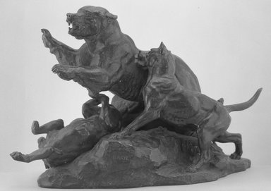 Antoine-Louis Barye (French, 1795-1875). Bear Fleeing Dogs (Ours fuyant des chiens), model date unknown; cast after 1870. Bronze, 12 3/4 x 18 1/4 x 7 1/2 in. (32.4 x 46.4 x 19.1 cm). Brooklyn Museum, Purchased by special subscription, 10.118. Creative Commons-BY