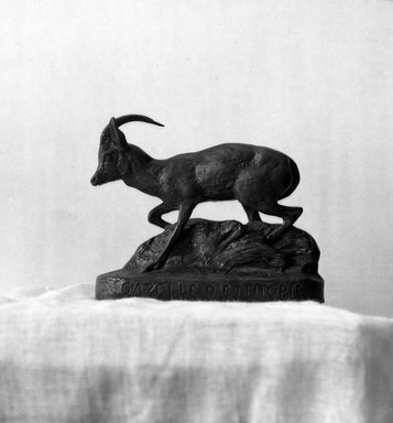 Antoine-Louis Barye (French, 1795-1875). Ethiopian Gazelle. Bronze, 3 1/2 x 4 5/16 x 1 9/16 in. (8.9 x 11 x 4 cm). Brooklyn Museum, Purchased by Special Subscription, 10.137. Creative Commons-BY