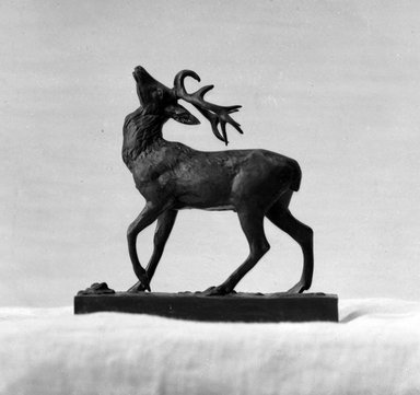 Antoine-Louis Barye (French, 1795-1875). Wounded Stag. Bronze, 4 5/16 x 4 5/16 x 1 5/8 in. (11 x 11 x 4.1 cm). Brooklyn Museum, Purchased by Special Subscription, 10.141. Creative Commons-BY