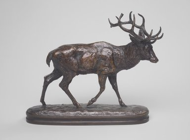 Antoine-Louis Barye (French, 1795-1875). Stag Walking. Bronze, 7 1/8 x 8 1/4 in. (18.1 x 21 cm). Brooklyn Museum, Purchased by Special Subscription, 10.142. Creative Commons-BY