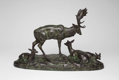 Antoine-Louis Barye (French, 1795-1875). Buck, Doe, and Two Fawns, or Family of Deer (Daim, daine et deux faons, ou Famille de Daim). Bronze, 7 1/4 x 10 7/8 x 3 3/4 in. (18.4 x 27.6 x 9.5 cm). Brooklyn Museum, Purchased by Special Subscription, 10.145. Creative Commons-BY