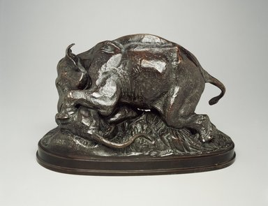 Antoine-Louis Barye (French, 1795-1875). Elephant Crushing a Tiger (Éléphant écrasant un tigre). Bronze, With base: 9 x 7 x 14 in. (22.9 x 17.8 x 35.6 cm). Brooklyn Museum, Purchased by Special Subscription, 10.154. Creative Commons-BY