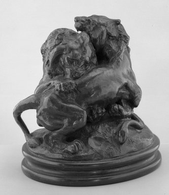 Antoine-Louis Barye (French, 1795-1875). Two Young Lions (Deux jeunes lions). Bronze, 7 1/2 x 7 1/2 x 5 7/8 in. (19.1 x 19.1 x 14.9 cm). Brooklyn Museum, Purchased by Special Subscription, 10.173. Creative Commons-BY