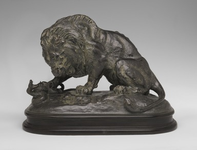 Antoine-Louis Barye (French, 1795-1875). Lion Crushing a Snake. Bronze, With base: 10 1/2 x 8 x 13 1/2 in. (26.7 x 20.3 x 34.3 cm). Brooklyn Museum, Purchased by Special Subscription, 10.178. Creative Commons-BY