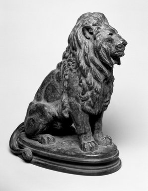 Antoine-Louis Barye (French, 1795-1875). Seated Lion, No. 1 (Lion Assis No 1). Bronze, With base: 14 1/4 x 7 1/2 x 12 in. (36.2 x 19.1 x 30.5 cm). Brooklyn Museum, Purchased by Special Subscription, 10.179. Creative Commons-BY