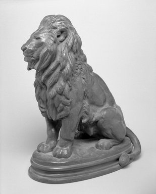 Antoine-Louis Barye (French, 1795-1875). A Seated Lion. Bronze, With base: 14 1/4 x 7 1/2 x 12 in. (36.2 x 19.1 x 30.5 cm). Brooklyn Museum, Purchased by Special Subscription, 10.180. Creative Commons-BY