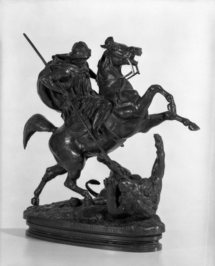 Antoine-Louis Barye (French, 1795-1875). Arab Killing a Lion. Bronze, 15 x 14 1/2 in. (38.1 x 36.8 cm). Brooklyn Museum, Purchased by Special Subscription, 10.202. Creative Commons-BY