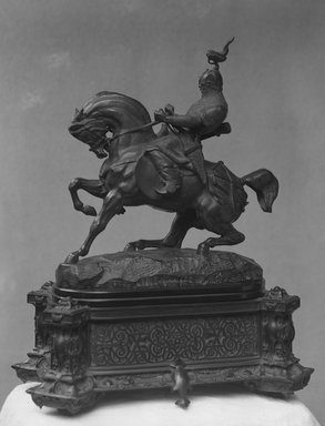 Antoine-Louis Barye (French, 1795-1875). Tartar Warrior Checking His Horse (Guerrier tartare arrêtant son cheval; Un cavalier chinois), modeled ca. 1845. Bronze, 15 x 14 x 6 in. (38.1 x 35.6 x 15.2 cm). Brooklyn Museum, Purchased by Special Subscription, 10.203a-b. Creative Commons-BY