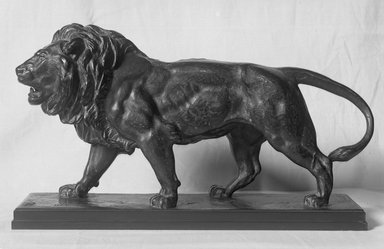 Antoine-Louis Barye (French, 1795-1875). Lion Walking. Bronze, 9 1/8 x 16 1/8 x 10 in. (23.2 x 41 x 25.4 cm). Brooklyn Museum, Purchased by Special Subscription, 10.207. Creative Commons-BY