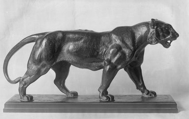 Antoine-Louis Barye (French, 1795-1875). Walking Tiger (Tigre marchant), modeled 1830s; cast date unknown. Bronze, 8 1/2 x 16 x 4 in. (21.6 x 40.6 x 10.2 cm). Brooklyn Museum, Purchased by Special Subscription, 10.208. Creative Commons-BY