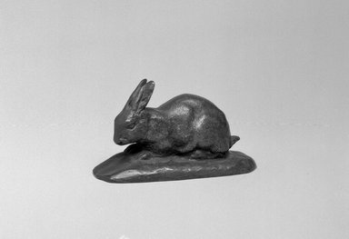 Antoine-Louis Barye (French, 1795-1875). Rabbit, Ears Erect (Lapin, oreilles dressées), n.d. Bronze, With base: 1 3/4 x 3 x 1 1/4 in. (4.4 x 7.6 x 3.2 cm). Brooklyn Museum, Purchased by Special Subscription, 10.210. Creative Commons-BY