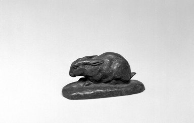 Antoine-Louis Barye (French, 1795-1875). Rabbit, Ears Lowered (Lapin, oreilles couchées), model date unknown; cast date unknown. Bronze, With base: 1 1/2 x 3 x 1 1/4 in. (3.8 x 7.6 x 3.2 cm). Brooklyn Museum, Purchased by Special Subscription, 10.211. Creative Commons-BY