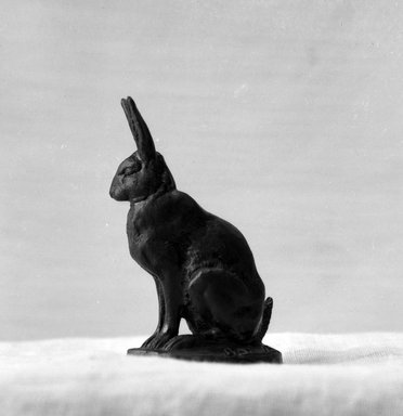 Antoine-Louis Barye (French, 1795-1875). Seated Hare (Lièvre assis), model date unknown; cast date unknown. Bronze, With base: 3 x 2 x 1 in. (7.6 x 5.1 x 2.5 cm). Brooklyn Museum, Purchased by Special Subscription, 10.213. Creative Commons-BY