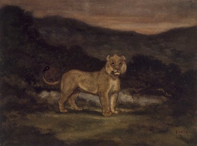 Antoine-Louis Barye (French, 1795-1875). Standing Lion (Lion debout), n.d. Watercolor, gouache, and pastel on cream-colored wove paper, 9 11/16 x 13 in. (24.6 x 33 cm). Brooklyn Museum, Purchased by Special Subscription, 10.98