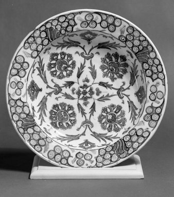 Dish, 18th century. Ceramic; stone paste, painted in blue and turquoise under a transparent colorless glaze, 2 5/16 x 11 7/16 in. (5.8 x 29 cm). Brooklyn Museum, Museum Collection Fund, 11.32. Creative Commons-BY