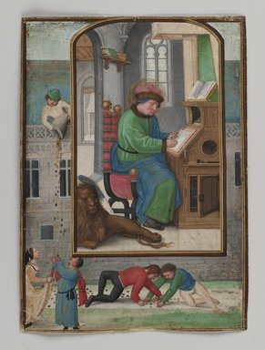 Simon Bening (Flemish, 1483-1561). St. Mark Writing, 1521. Painting on parchment, 5 3/16 x 3 3/4 in. (13.2 x 9.6 cm). Brooklyn Museum, Bequest of A. Augustus Healy, 11.503