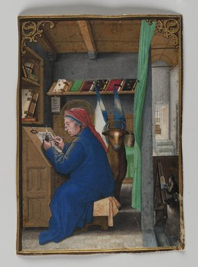 Simon Bening (Flemish, 1483-1561). St. Luke Writing in Crown, 1521. Painting on parchment, 5 3/16 x 3 11/16 in. (13.2 x 9.3 cm). Brooklyn Museum, Bequest of A. Augustus Healy, 11.504