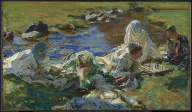 John Singer Sargent (American, 1856-1925). Dolce Far Niente, ca. 1907. Oil on canvas, 16 1/4 x 28 1/4 in. (41.3 x 71.7 cm). Brooklyn Museum, Bequest of A. Augustus Healy, 11.518
