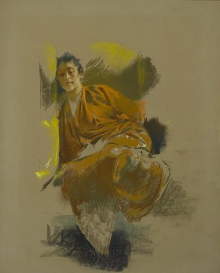 Robert Frederick Blum (American, 1857-1903). Study in Japanese Costume, ca. 1890-1892. Pastel on thick paper with a mauve/gray textured ground, mounted to paperboard and attached to a wooden strainer, 28 5/16 x 22 3/8 in. (71.9 x 56.8 cm). Brooklyn Museum, Gift of Henrietta Haller, 11.524