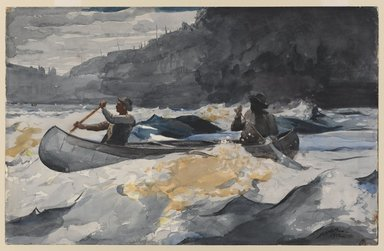 Winslow Homer (American, 1836-1910). Shooting the Rapids, 1902. Watercolor over graphite on off-white,  thick, moderately  textured wove paper with watermark, 13 15/16 x 21 13/16 in.  (35.4 x 55.4 cm). Brooklyn Museum, Museum Collection Fund and Special Subscription, 11.537