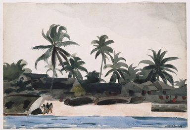 Winslow Homer (American, 1836-1910). Key West, Negro Cabins and Palms, 1898. Watercolor over pencil, Sheet: 14 7/16 x 21 1/16 in. (36.7 x 53.5 cm). Brooklyn Museum, Museum Collection Fund and Special Subscription, 11.538