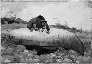 Winslow Homer (American, 1836-1910). Bear and Canoe, 1895. Watercolor with touches of gum varnish over graphite on cream, moderately thick, moderately textured wove paper, 14 x 20 in. (35.6 x 50.8cm). Brooklyn Museum, Museum Collection Fund and Special Subscription, 11.541