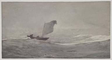 Winslow Homer (American, 1836-1910). Blown Away, ca. 1888. Watercolor and graphite on paper, 10 1/8 x 19 1/16 in. (25.7 x 48.4 cm). Brooklyn Museum, Museum Collection Fund and Special Subscription, 11.543