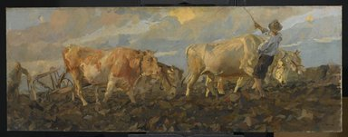 Brooklyn Museum: Oxen Plowing