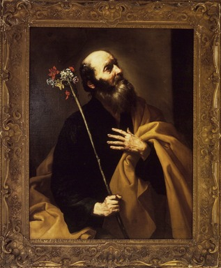Jusepe de Ribera (Spanish, 1591-1652). Saint Joseph with the Flowering Rod, early 1630s. Oil on panel, 46 x 35 3/4 in. (116.8 x 90.8 cm). Brooklyn Museum, Gift of George D. Pratt, 11.563