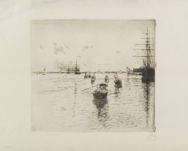 Robert Frederick Blum (American, 1857-1903). Laguna with Steamers and Gondolas, 1885. Etching in black ink on cream, medium thick, slightly textured wove Japan paper, sheet: 10 5/16 x 15 3/8 in. (26.2 x 39.1 cm). Brooklyn Museum, Gift of the Cincinnati Museum Association, 11.579