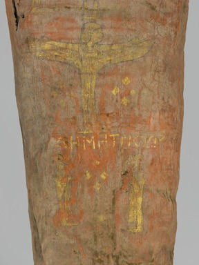 The Mummy of Demetri[o]s, 95-100 C.E. Painted cloth, gold, human remains, wood, encaustic, gilding, 13 3/8 x 15 3/8 x 74 13/16 in., 130 lb. (34 x 39 x 190 cm, 59kg). Brooklyn Museum, Charles Edwin Wilbour Fund, 11.600. Creative Commons-BY