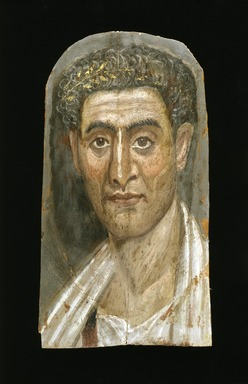 The Mummy of Demetri[o]s, 95-100 C.E. Painted cloth, gold, human remains, wood, encaustic, gilding, 13 3/8 x 15 3/8 x 74 13/16 in., 130 lb. (34 x 39 x 190 cm, 58.97kg). Brooklyn Museum, Charles Edwin Wilbour Fund, 11.600. Creative Commons-BY