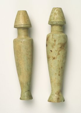 One of a Pair of Dummy Offering Vases. Faience, 4 3/4 x 1 1/16 in. (12.1 x 2.7 cm). Brooklyn Museum, Museum Collection Fund, 11.685.1. Creative Commons-BY