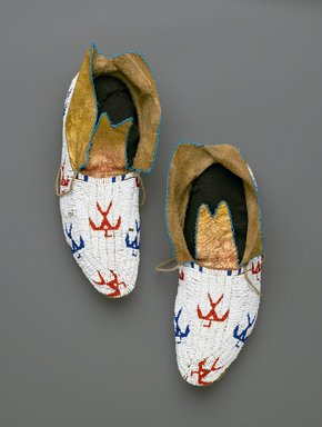 Osage (Native American). Pair of Moccasins, early 20th century. Hide, beads, Each: 10 13/16 x 4 5/16 in. (27.5 x 11 cm). Brooklyn Museum, Museum Expedition 1911, Museum Collection Fund, 11.694.9035a-b. Creative Commons-BY