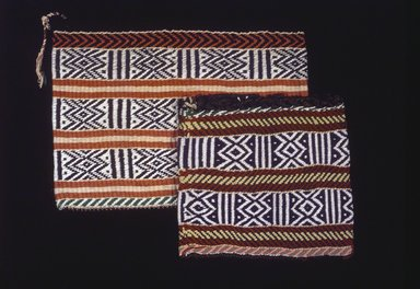 Osage (Native American). Twined Bag, late 19th-early 20th century. Wool, cotton, plant fiber, 14 1/2 x 15 1/2 in. (36.8 x 39.4 cm). Brooklyn Museum, Museum Expedition 1911, Museum Collection Fund, 11.694.9061. Creative Commons-BY